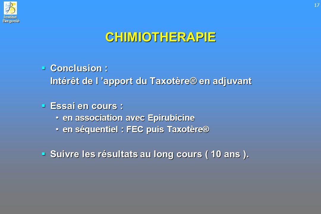 Institut Bergonié Bergonié 17 CHIMIOTHERAPIE Conclusion : Conclusion : Intérêt de l apport du Taxotère® en adjuvant Essai en cours : Essai en cours :