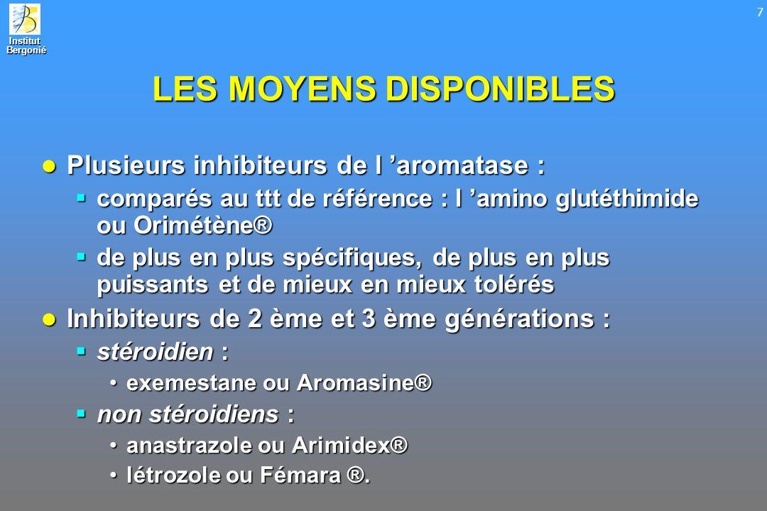 Institut Bergonié Bergonié 7 LES MOYENS DISPONIBLES Plusieurs inhibiteurs de l aromatase : Plusieurs inhibiteurs de l aromatase : comparés au ttt de r