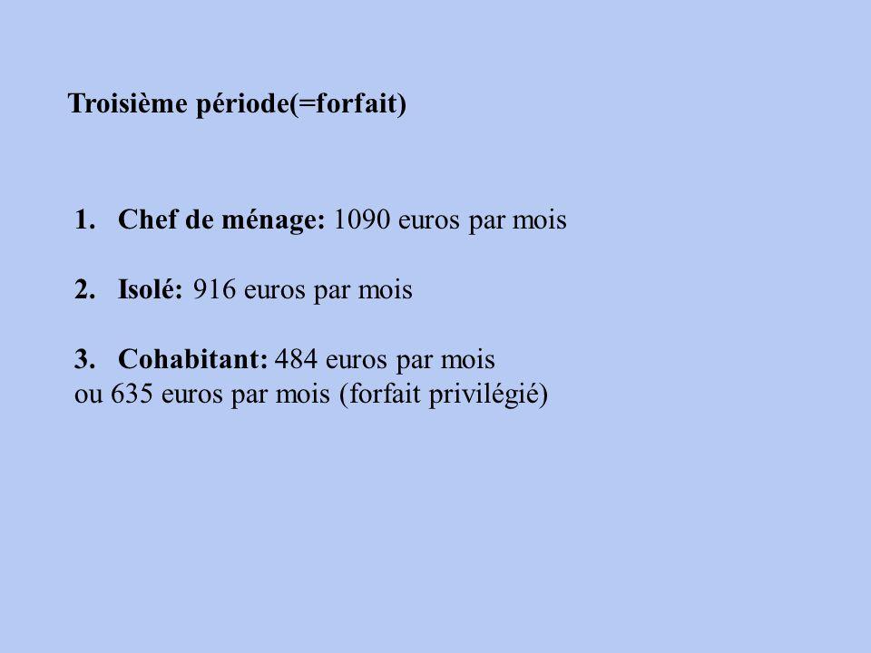 Troisième période(=forfait) 1.Chef de ménage: 1090 euros par mois 2.Isolé: 916 euros par mois 3.Cohabitant: 484 euros par mois ou 635 euros par mois (forfait privilégié)