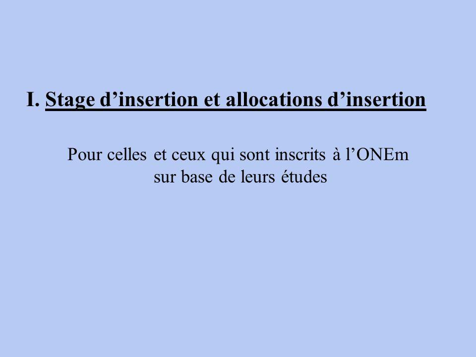Pour celles et ceux qui sont inscrits à lONEm sur base de leurs études I. Stage dinsertion et allocations dinsertion