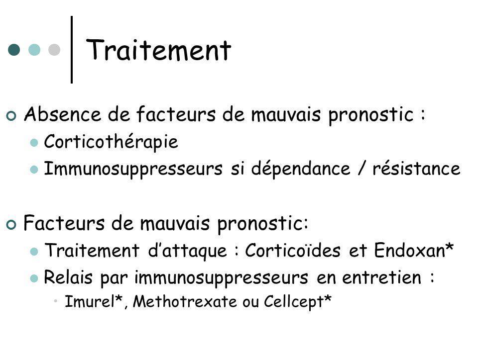 Traitement Absence de facteurs de mauvais pronostic : Corticothérapie Immunosuppresseurs si dépendance / résistance Facteurs de mauvais pronostic: Tra