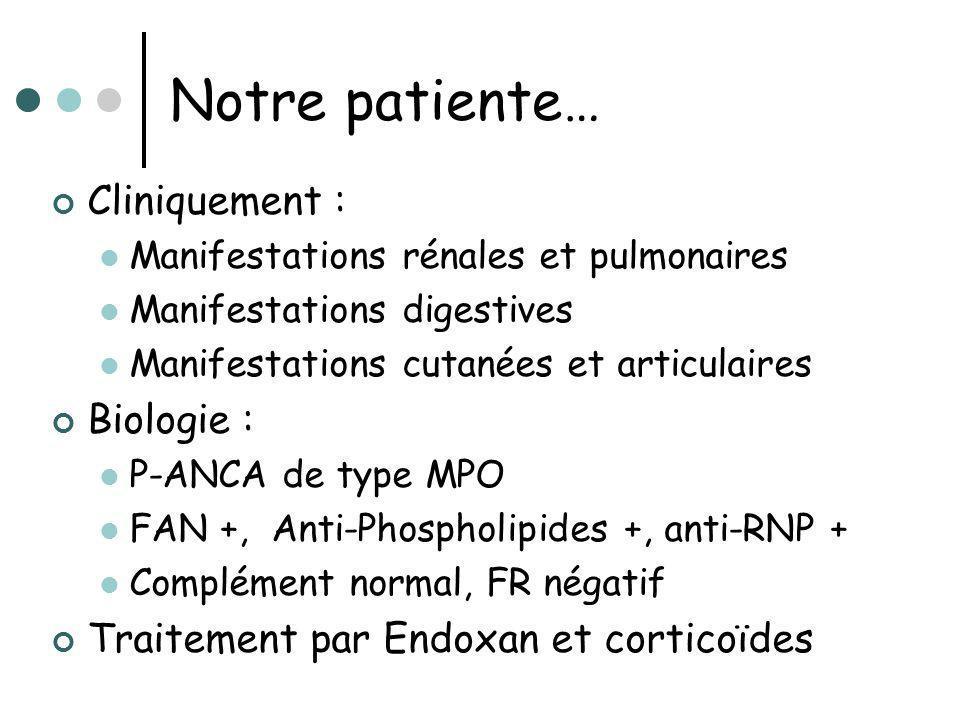 Notre patiente… Cliniquement : Manifestations rénales et pulmonaires Manifestations digestives Manifestations cutanées et articulaires Biologie : P-AN