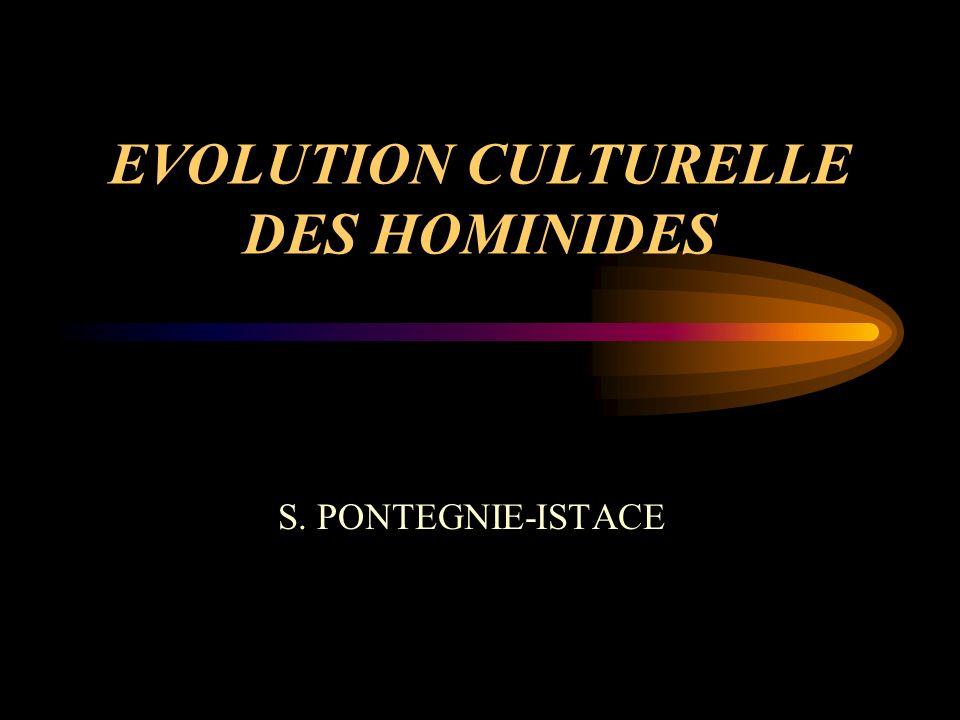 EVOLUTION CULTURELLE DES HOMINIDES S. PONTEGNIE-ISTACE