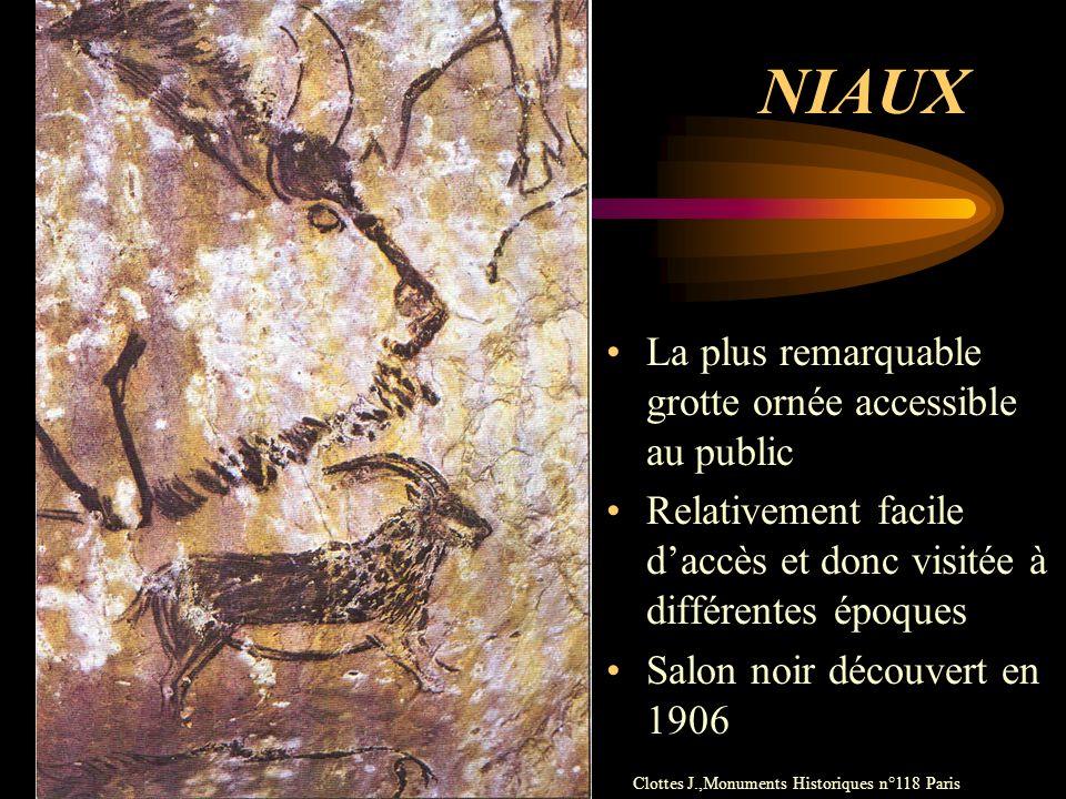 NIAUX La plus remarquable grotte ornée accessible au public Relativement facile daccès et donc visitée à différentes époques Salon noir découvert en 1