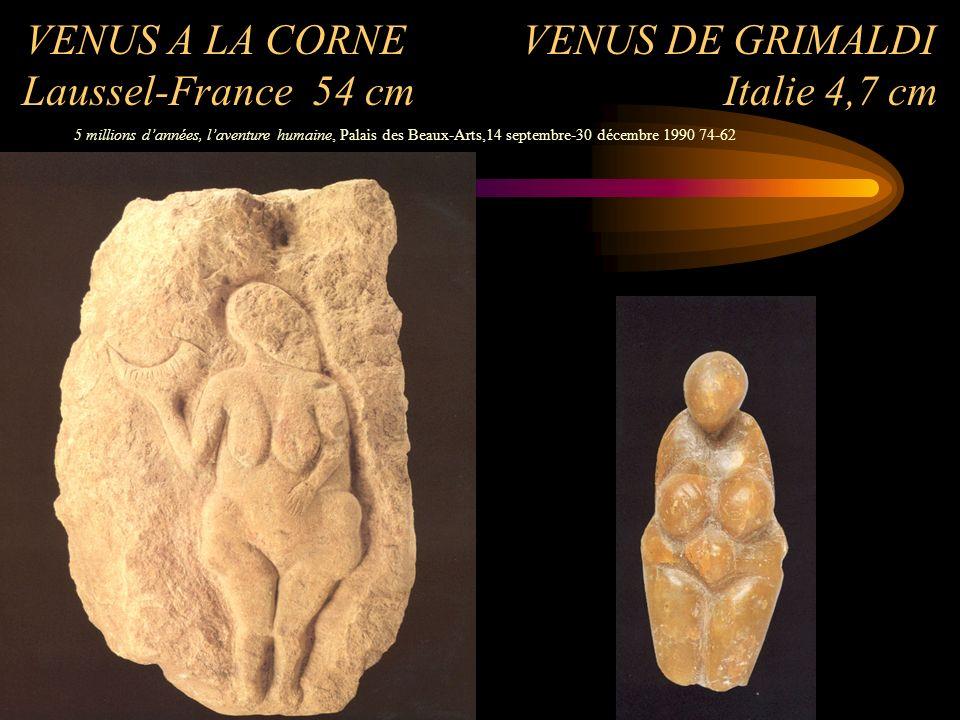VENUS A LA CORNE VENUS DE GRIMALDI Laussel-France 54 cm Italie 4,7 cm 5 millions dannées, laventure humaine, Palais des Beaux-Arts,14 septembre-30 déc