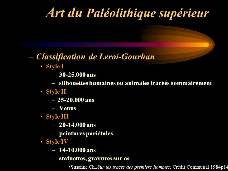 Art du Paléolithique supérieur –Classification de Leroi-Gourhan Style I – 30-25.000 ans – silhouettes humaines ou animales tracées sommairement Style
