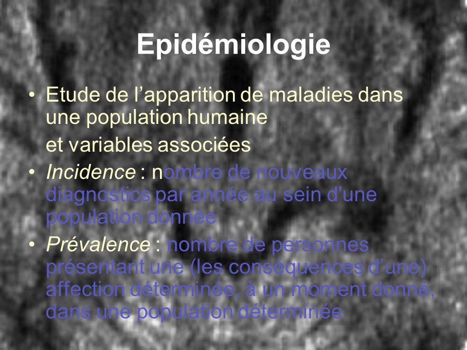 Epidémiologie Etude de lapparition de maladies dans une population humaine et variables associées Incidence : nombre de nouveaux diagnostics par année