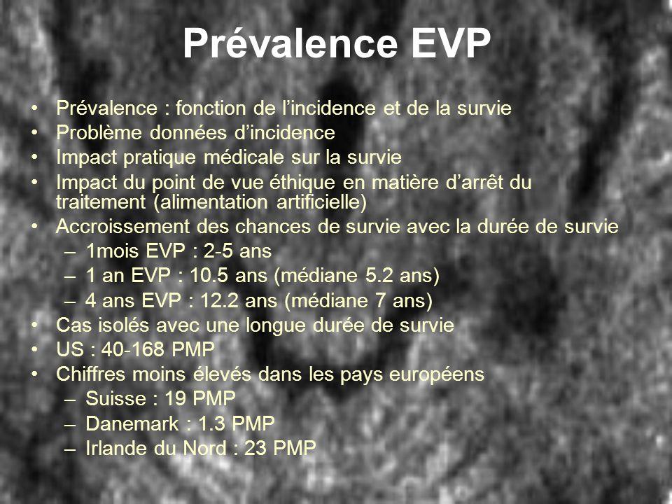 Prévalence EVP Prévalence : fonction de lincidence et de la survie Problème données dincidence Impact pratique médicale sur la survie Impact du point