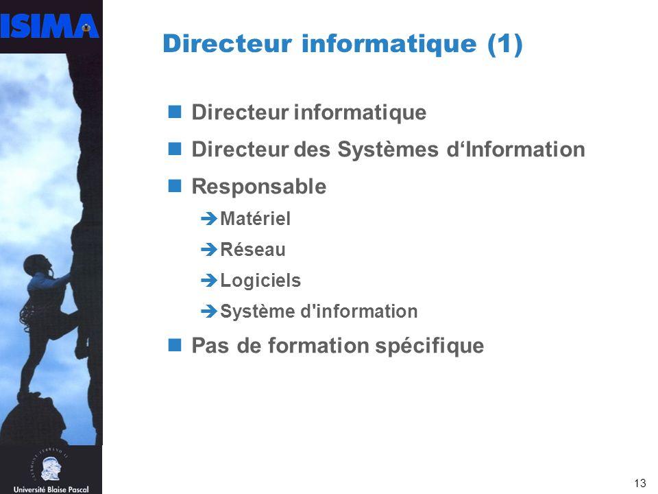 13 Directeur informatique (1) Directeur informatique Directeur des Systèmes dInformation Responsable Matériel Réseau Logiciels Système d information Pas de formation spécifique