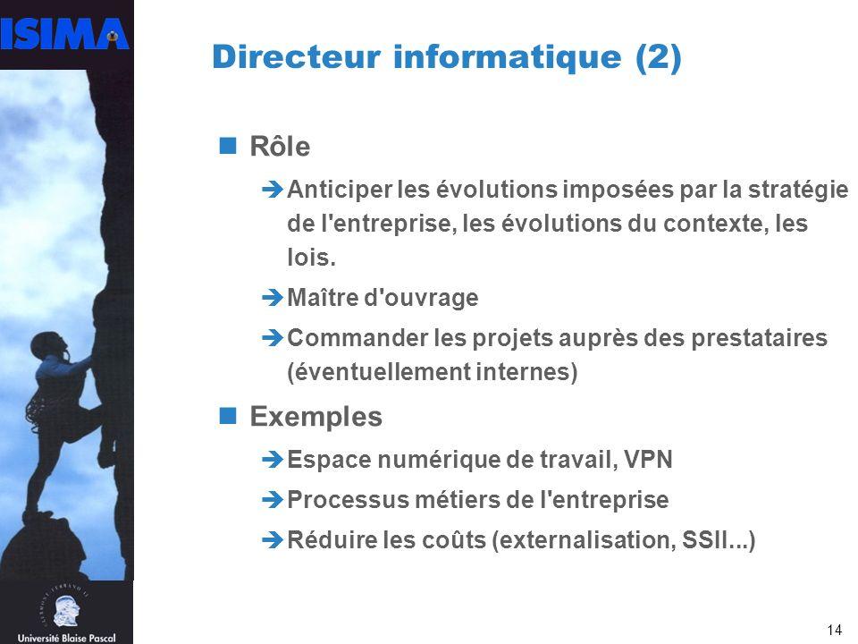 14 Directeur informatique (2) Rôle Anticiper les évolutions imposées par la stratégie de l entreprise, les évolutions du contexte, les lois.