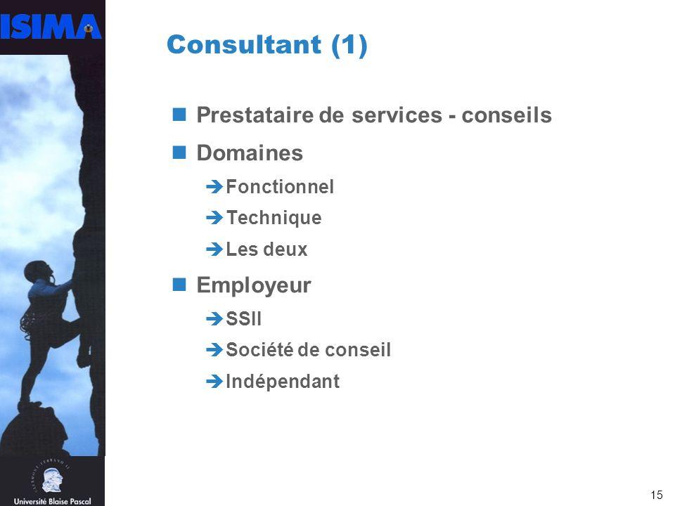 15 Consultant (1) Prestataire de services - conseils Domaines Fonctionnel Technique Les deux Employeur SSII Société de conseil Indépendant