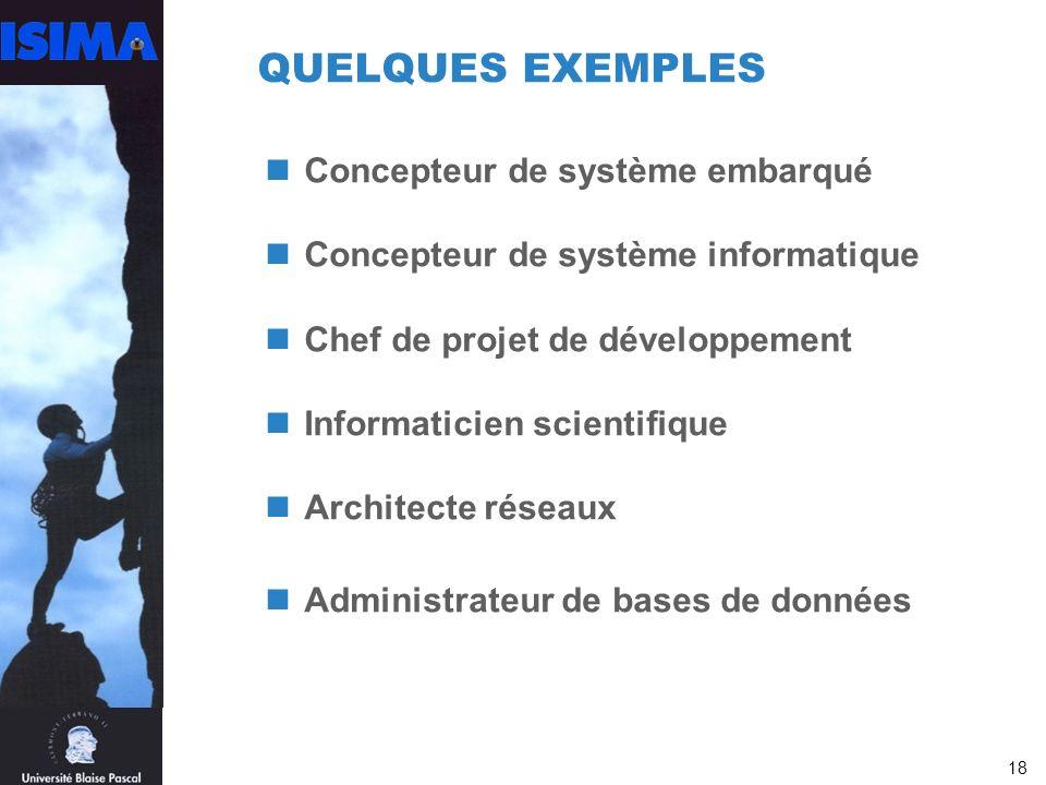 18 QUELQUES EXEMPLES Concepteur de système embarqué Concepteur de système informatique Chef de projet de développement Informaticien scientifique Architecte réseaux Administrateur de bases de données