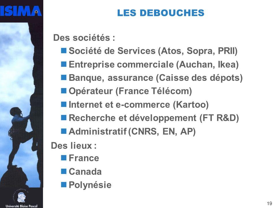 19 LES DEBOUCHES Société de Services (Atos, Sopra, PRII) Entreprise commerciale (Auchan, Ikea) Banque, assurance (Caisse des dépots) Opérateur (France Télécom) Internet et e-commerce (Kartoo) Recherche et développement (FT R&D) Administratif (CNRS, EN, AP) France Canada Polynésie Des sociétés : Des lieux :
