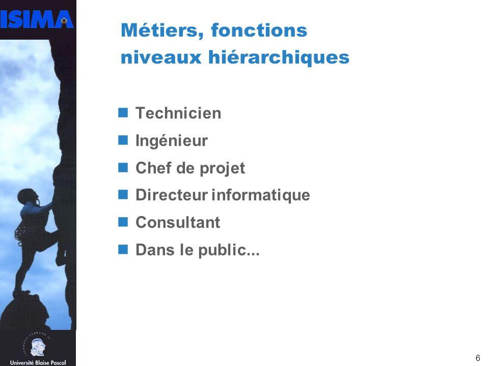 6 Métiers, fonctions niveaux hiérarchiques Technicien Ingénieur Chef de projet Directeur informatique Consultant Dans le public...