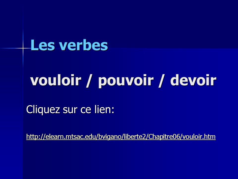 Les verbes vouloir / pouvoir / devoir Cliquez sur ce lien: http://elearn.mtsac.edu/bvigano/liberte2/Chapitre06/vouloir.htm