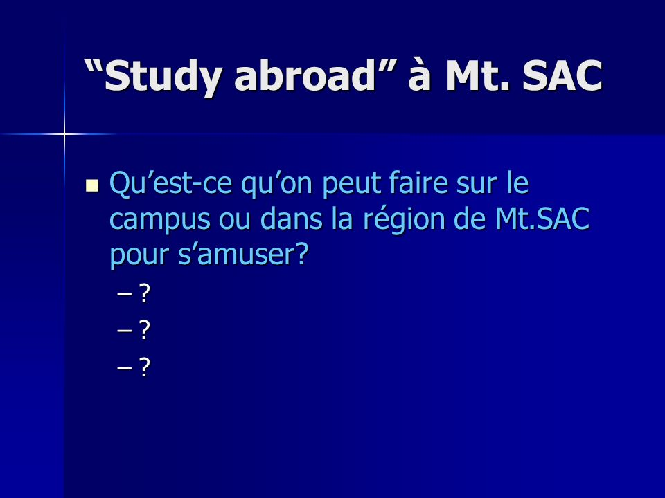 Study abroad à Mt.