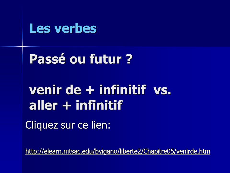 Les verbes Passé ou futur ? venir de + infinitif vs. aller + infinitif Cliquez sur ce lien: http://elearn.mtsac.edu/bvigano/liberte2/Chapitre05/venird