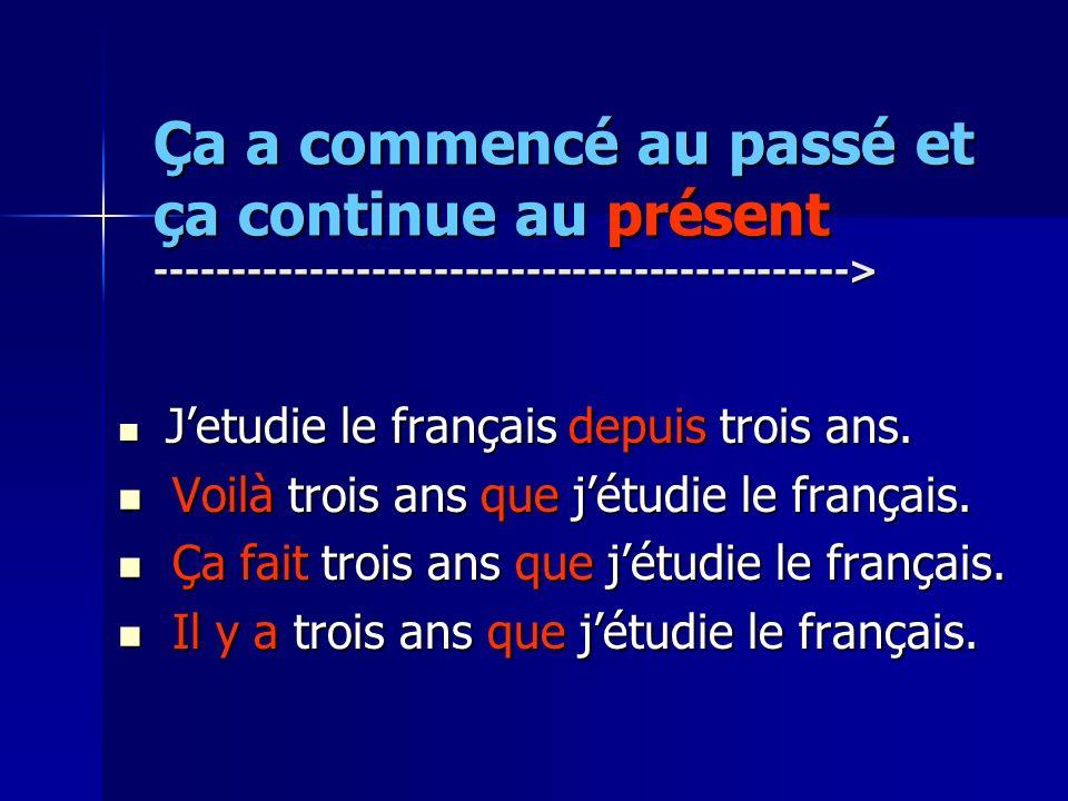 Ça a commencé au passé et ça continue au présent ---------------------------------------------> Jetudie le français depuis trois ans. Jetudie le franç