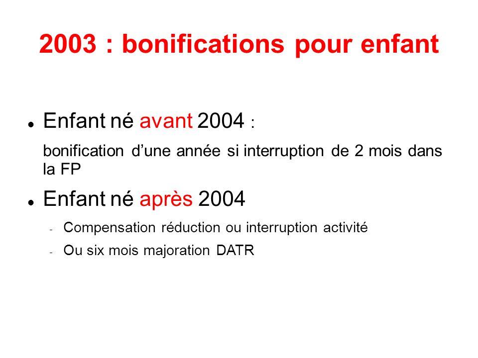 2003 : bonifications pour enfant Enfant né avant 2004 : bonification dune année si interruption de 2 mois dans la FP Enfant né après 2004 Compensation réduction ou interruption activité Ou six mois majoration DATR