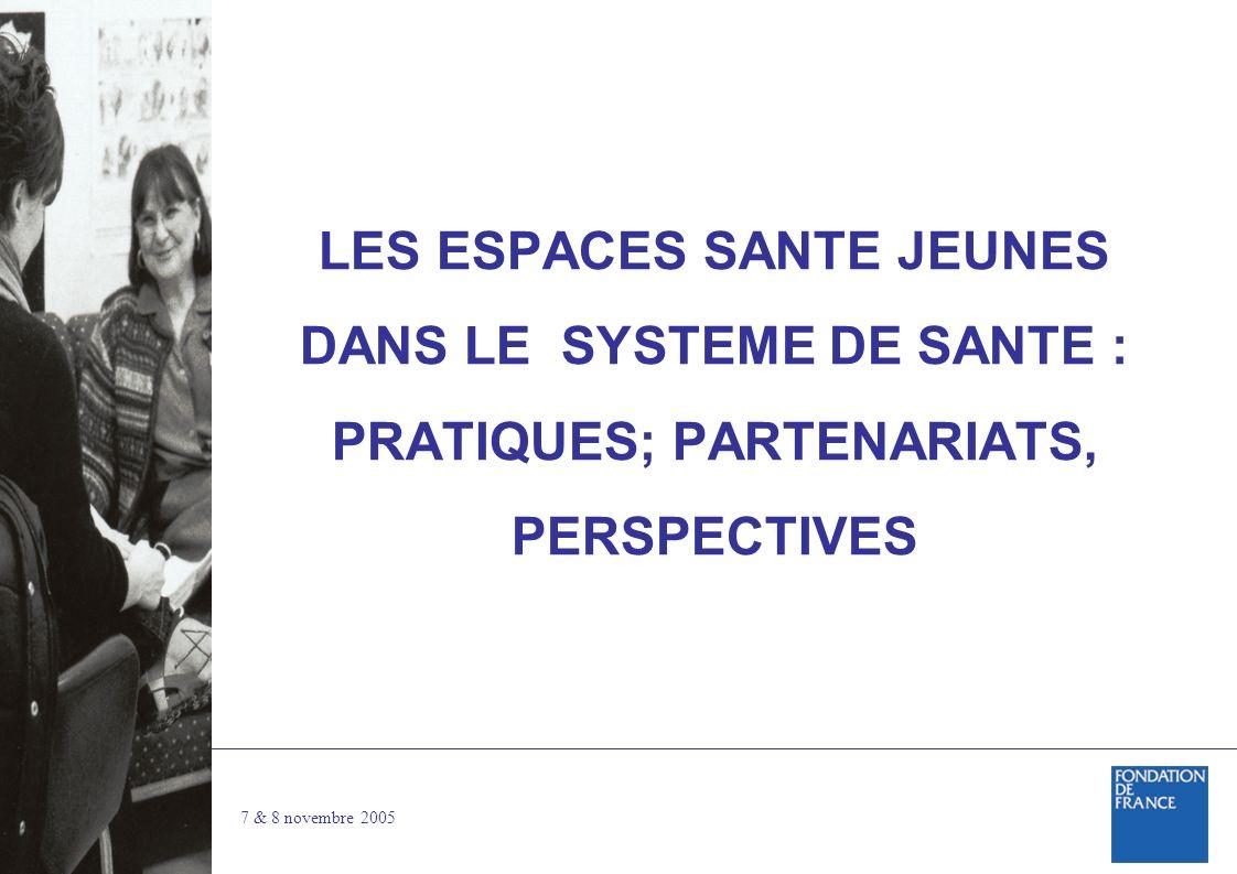 7 & 8 novembre 2005 LES ESPACES SANTE JEUNES DANS LE SYSTEME DE SANTE : PRATIQUES; PARTENARIATS, PERSPECTIVES