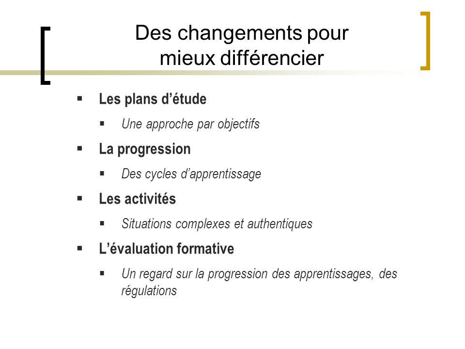 Des changements pour mieux différencier Les plans détude Une approche par objectifs La progression Des cycles dapprentissage Les activités Situations complexes et authentiques Lévaluation formative Un regard sur la progression des apprentissages, des régulations