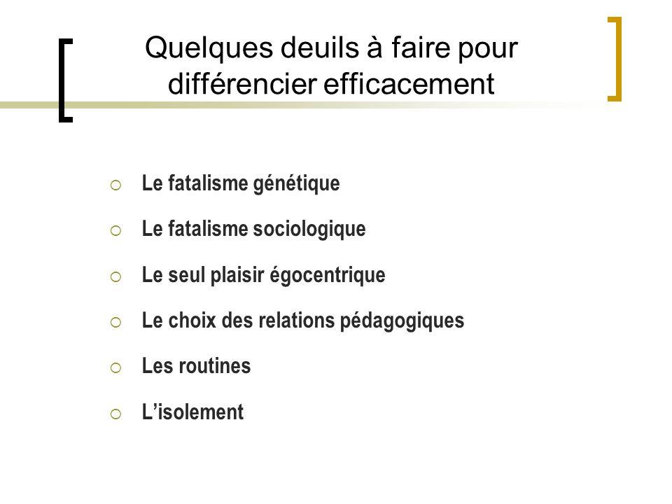 Quelques deuils à faire pour différencier efficacement Le fatalisme génétique Le fatalisme sociologique Le seul plaisir égocentrique Le choix des relations pédagogiques Les routines Lisolement