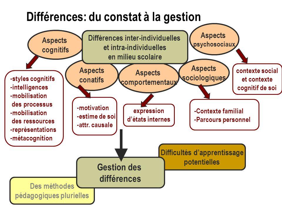 Des méthodes pédagogiques plurielles Difficultés dapprentissage potentielles Gestion des différences expression détats internes -motivation -estime de soi -attr.
