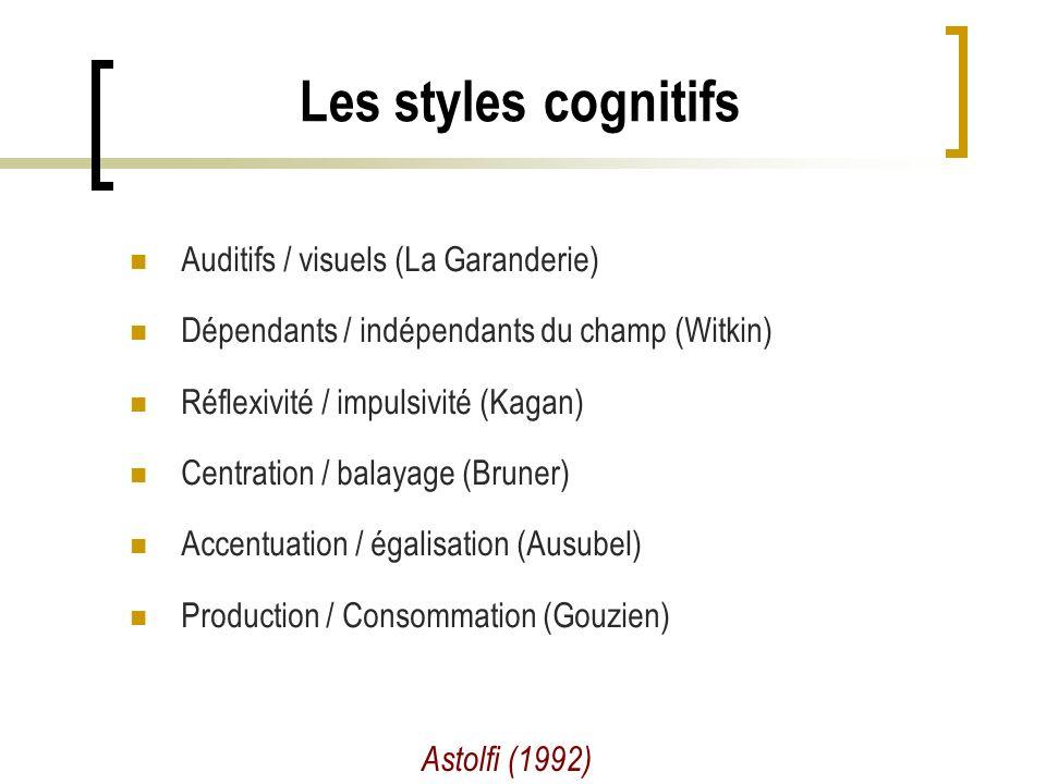 Les styles cognitifs Astolfi (1992) Auditifs / visuels (La Garanderie) Dépendants / indépendants du champ (Witkin) Réflexivité / impulsivité (Kagan) Centration / balayage (Bruner) Accentuation / égalisation (Ausubel) Production / Consommation (Gouzien)