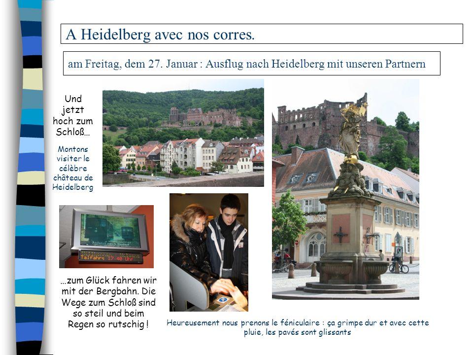 am Freitag, dem 27. Januar : Ausflug nach Heidelberg mit unseren Partnern A Heidelberg avec nos corres. Heureusement nous prenons le féniculaire : ça