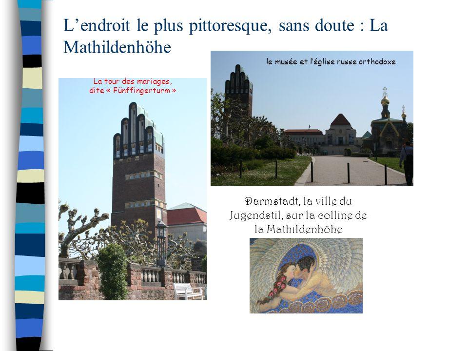 La tour des mariages, dite « Fünffingerturm » Darmstadt, la ville du Jugendstil, sur la colline de la Mathildenhöhe Lendroit le plus pittoresque, sans