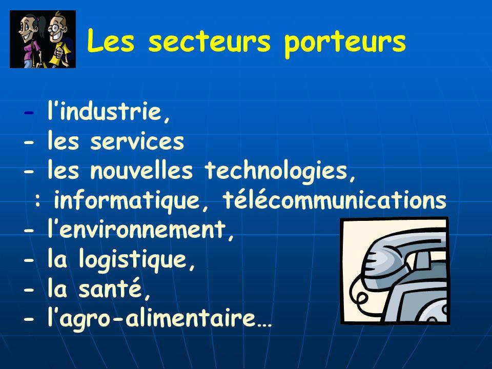 Les secteurs porteurs - lindustrie, - les services - les nouvelles technologies, : informatique, télécommunications - lenvironnement, - la logistique,