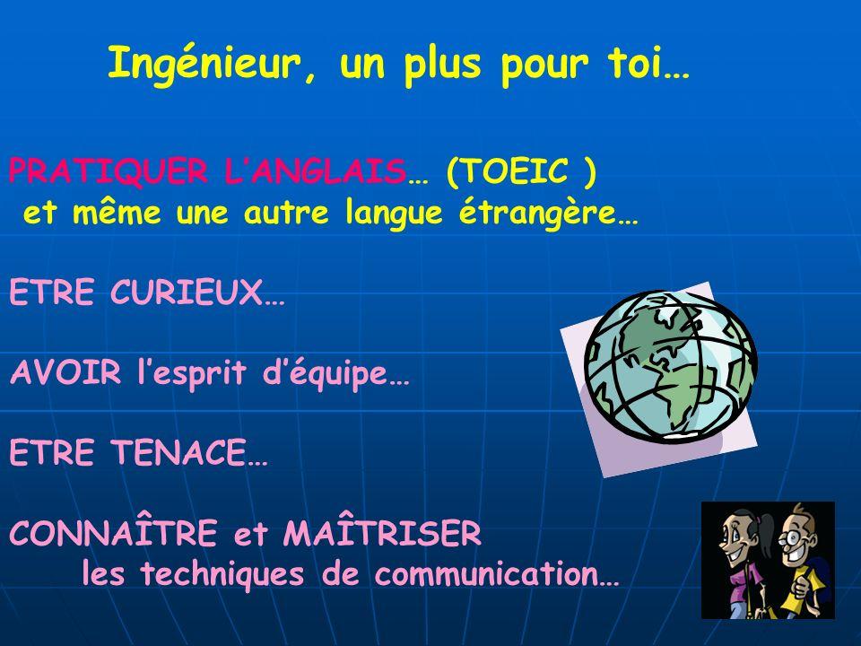 Ingénieur, un plus pour toi… PRATIQUER LANGLAIS… (TOEIC ) et même une autre langue étrangère… ETRE CURIEUX… AVOIR lesprit déquipe… ETRE TENACE… CONNAÎ