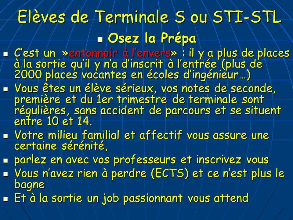 Elèves de Terminale S ou STI-STL Osez la Prépa Osez la Prépa Cest un »entonnoir à lenvers» : il y a plus de places à la sortie quil y na dinscrit à le