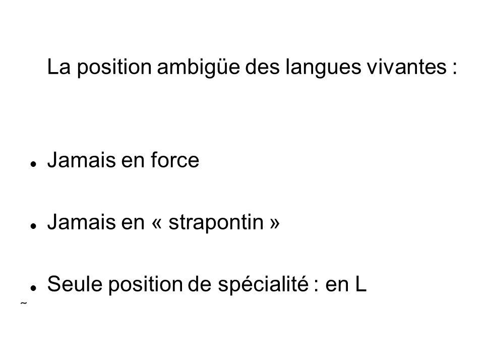 La position ambigüe des langues vivantes : Jamais en force Jamais en « strapontin » Seule position de spécialité : en L