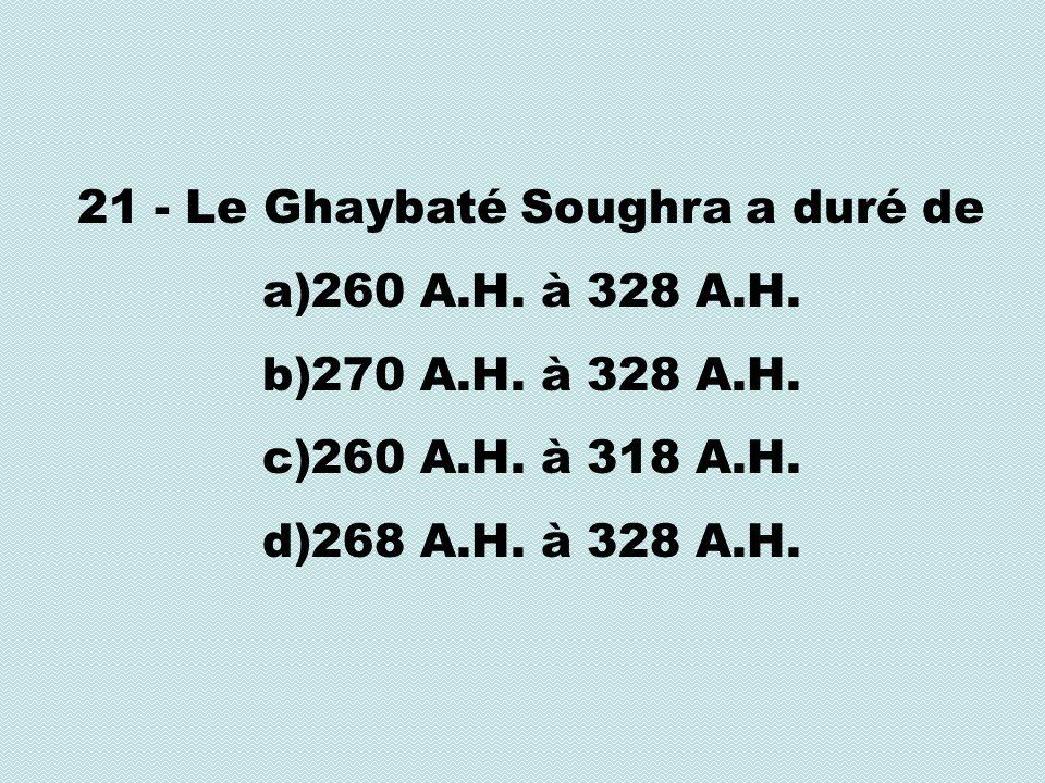 21 - Le Ghaybaté Soughra a duré de a)260 A.H. à 328 A.H.