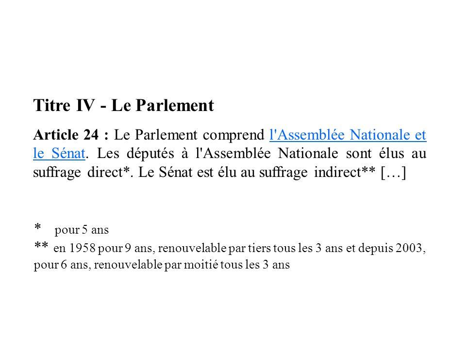 Titre IV - Le Parlement Article 24 : Le Parlement comprend l'Assemblée Nationale et le Sénat. Les députés à l'Assemblée Nationale sont élus au suffrag