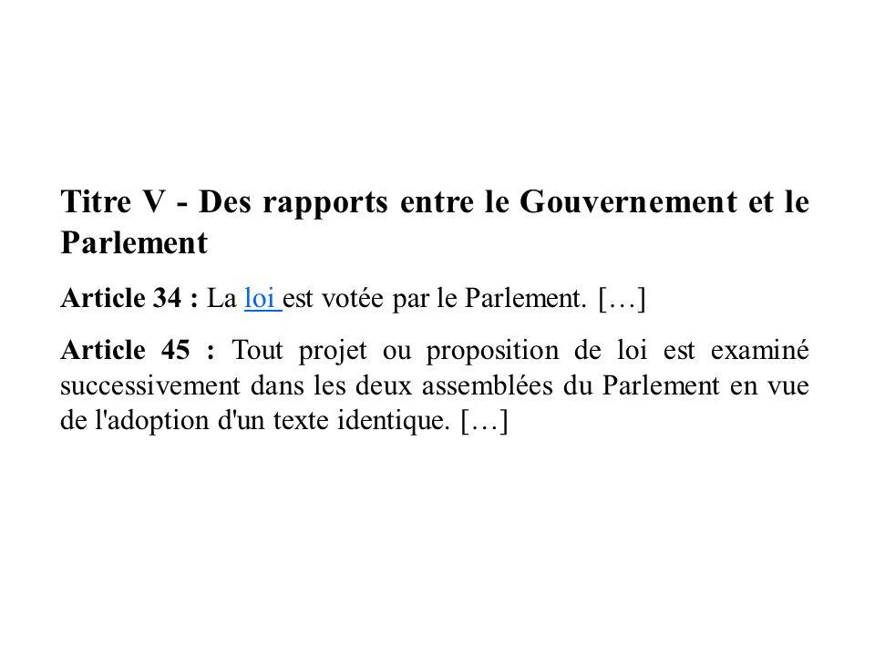 Titre V - Des rapports entre le Gouvernement et le Parlement Article 34 : La loi est votée par le Parlement. […]loi Article 45 : Tout projet ou propos