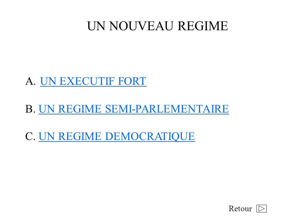 UN NOUVEAU REGIME A.UN EXECUTIF FORTUN EXECUTIF FORT B. UN REGIME SEMI-PARLEMENTAIREUN REGIME SEMI-PARLEMENTAIRE C. UN REGIME DEMOCRATIQUEUN REGIME DE