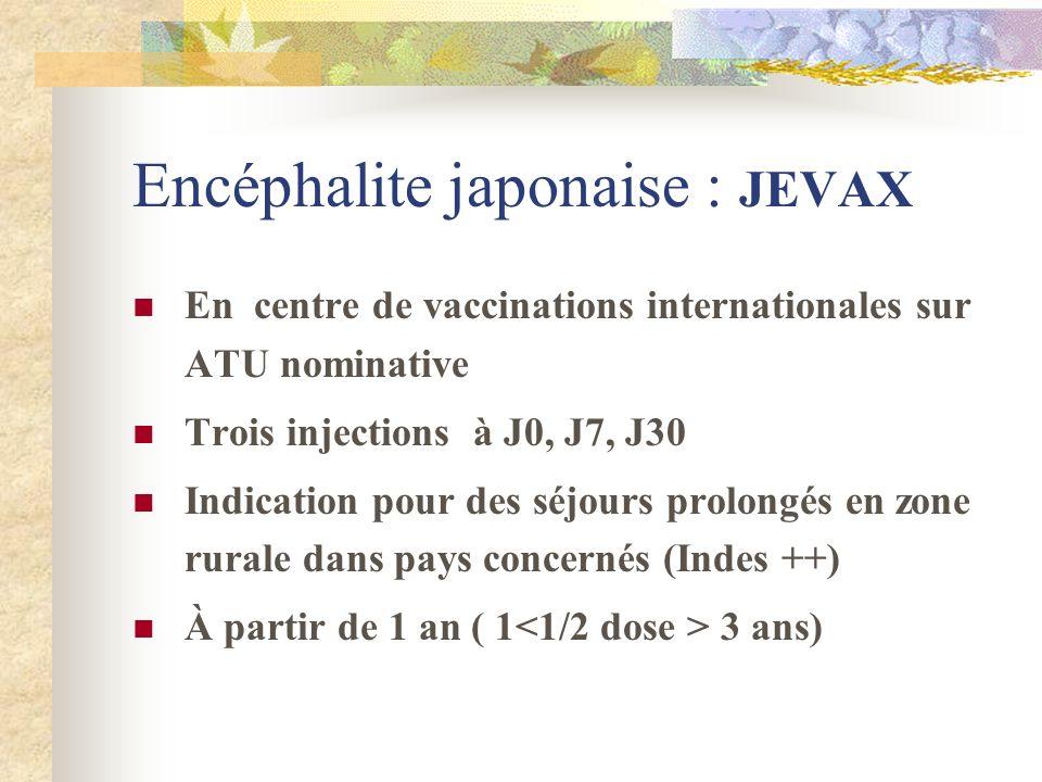 Encéphalite japonaise : JEVAX En centre de vaccinations internationales sur ATU nominative Trois injections à J0, J7, J30 Indication pour des séjours