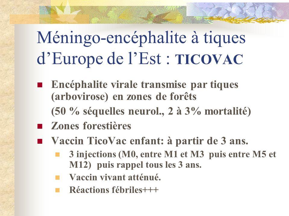 Méningo-encéphalite à tiques dEurope de lEst : TICOVAC Encéphalite virale transmise par tiques (arbovirose) en zones de forêts (50 % séquelles neurol.