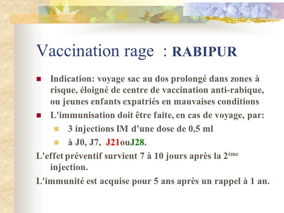 Vaccination rage : RABIPUR Indication: voyage sac au dos prolongé dans zones à risque, éloigné de centre de vaccination anti-rabique, ou jeunes enfant