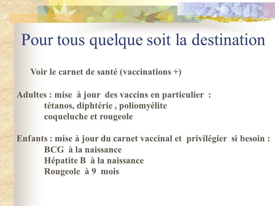Pour tous quelque soit la destination Voir le carnet de santé (vaccinations +) Adultes : mise à jour des vaccins en particulier : tétanos, diphtérie,