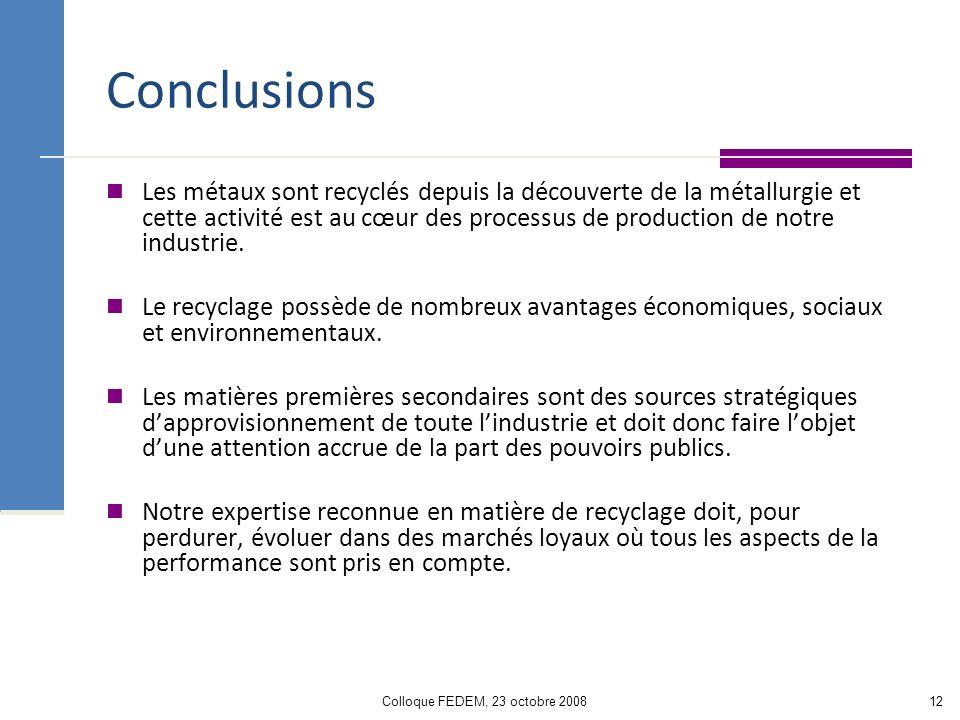 Colloque FEDEM, 23 octobre 200812 Conclusions Les métaux sont recyclés depuis la découverte de la métallurgie et cette activité est au cœur des processus de production de notre industrie.