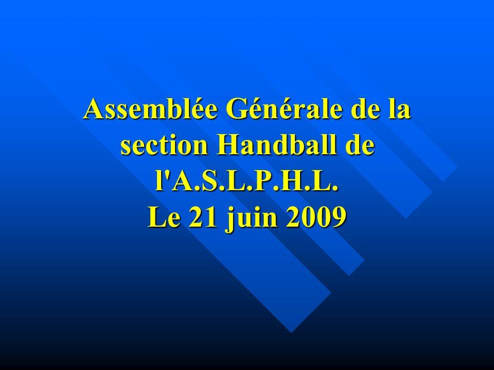 Assemblée Générale de la section Handball de l A.S.L.P.H.L. Le 21 juin 2009