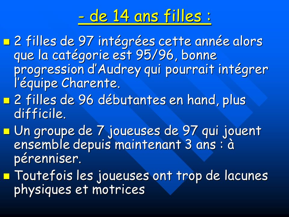 Effectif de 11 licenciées Effectif de 11 licenciées Responsables : Christophe Jhean et Nathalie Selin, intervention de Martine Poullain.