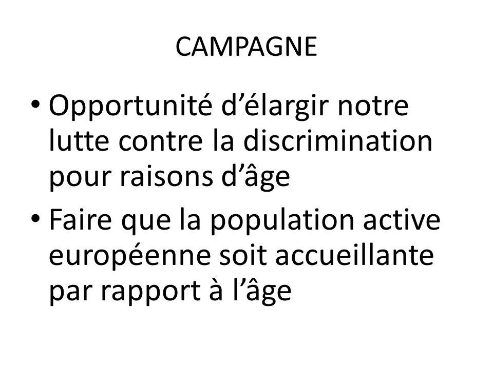 CAMPAGNE Opportunité délargir notre lutte contre la discrimination pour raisons dâge Faire que la population active européenne soit accueillante par rapport à lâge