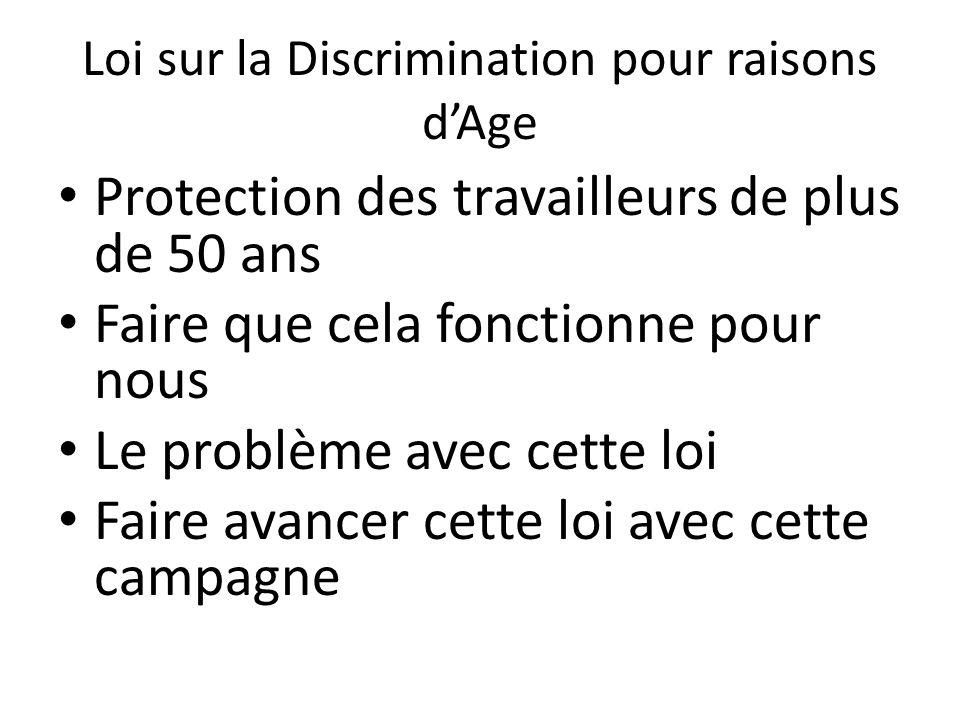 Loi sur la Discrimination pour raisons dAge Protection des travailleurs de plus de 50 ans Faire que cela fonctionne pour nous Le problème avec cette loi Faire avancer cette loi avec cette campagne