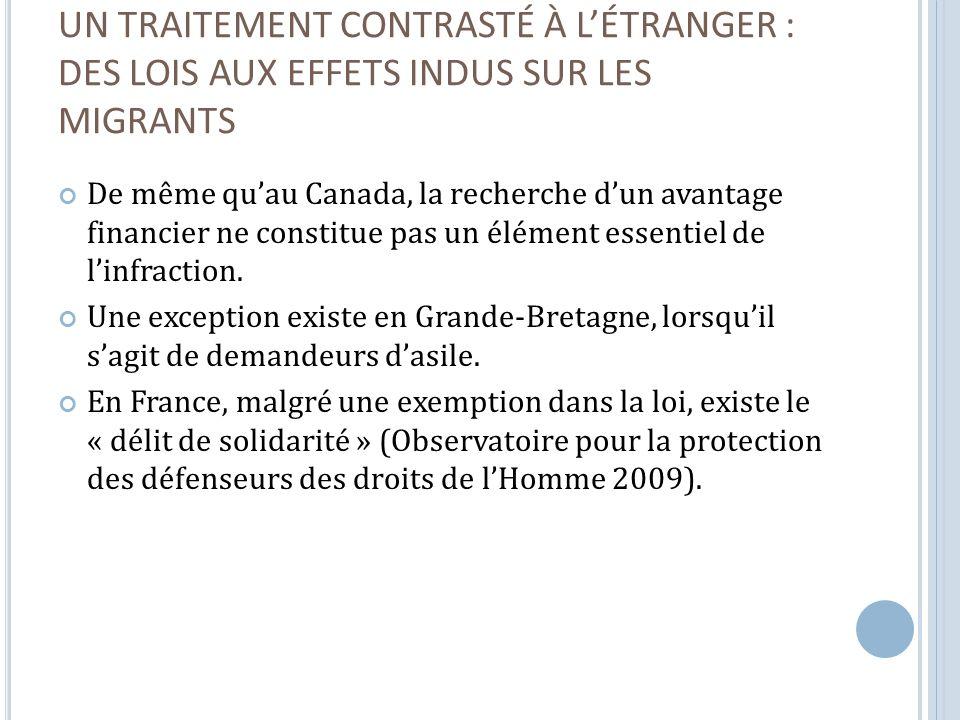 UN TRAITEMENT CONTRASTÉ À LÉTRANGER : DES LOIS AUX EFFETS INDUS SUR LES MIGRANTS De même quau Canada, la recherche dun avantage financier ne constitue pas un élément essentiel de linfraction.