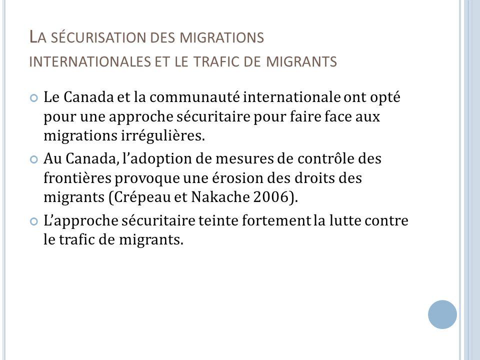 I MPACTS DIFFÉRENCIÉS AU C ANADA : L APPLICATION INÉGALE DES DISPOSITIONS Faible influence du nombre de migrants trafiqués sur la longueur des sentences.
