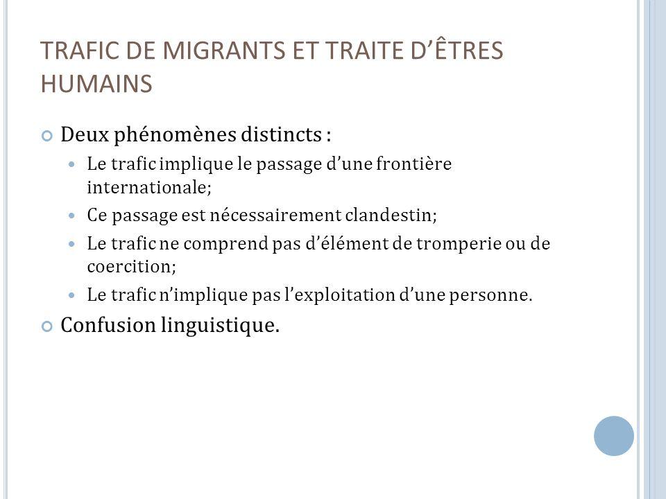 D E NÉCESSAIRES MODIFICATIONS LÉGISLATIVES Impacts indus sur les migrants : linclusion de la recherche dun avantage financier dans la définition de linfraction.
